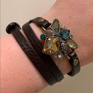 Sapphire Swarovski Crystal Leather Wrap Bracelet